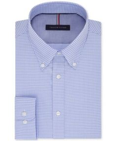 Tommy Hilfiger Men's Slim-Fit Non-Iron Check Dress Shirt - Blue 15.5 34/35