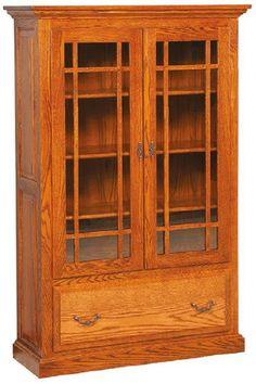 Custom Amish Raised Panel Bookcase W 2 Doors And Drawer 60 High X 39
