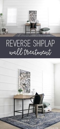 Reverse Shiplap Wall Treatment - simple tutorial, no nails required! - Home Decor Wainscoting Kitchen, Wainscoting Styles, Black Wainscoting, Wainscoting Hallway, Painted Wainscoting, Wainscoting Panels, Home Remodeling Diy, Home Renovation, Bedroom Remodeling