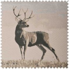 Beige Brown Colour Full Body Stag Animal In Scenery Pattern Soft Chenille Upholstery Fabric MDLY 11613 034 1696