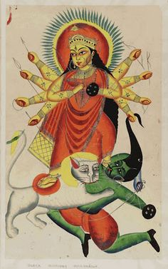 Durga in Kalighat Style, 19th c. listen to her chanting for one hour every monring + or for an hour before bed too!