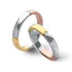 Coppia di fedi matrimoniali Flores Gioielli in oro bianco, rosa e giallo con diamanti. € 939 ref F56  Wedding rings by Flores Gioielli Personal Jewels