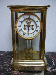 A 4-glass bevelled Giant French mantel Clock period 1880-1900.