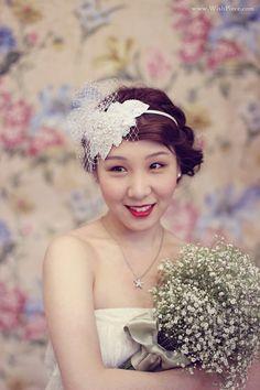 Bridal Headband, Wedding Hair Accessories, Rhinestone and Lace Headpiece, Ivory Wedding Headpiece with Birdcage Veil, Bridal Hair Fascinator