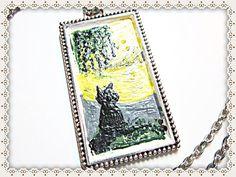 Cat Necklace~Black Cat Necklace~Cat Pendant~Black Cat Pendant~Painted Black Cat Necklace~Women's Jewellery~Black Cat Yellow Moon