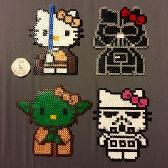 Hello Kitty Star Wars Mini Perler Beads A personal favorite from my Etsy shop https://www.etsy.com/listing/275668536/hello-kitty-meets-star-wars