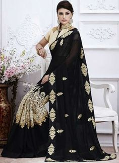 Girlish Black And White Georgette Designer Embroidery  Resham Work Saree http://www.angelnx.com/Sarees/Designer-Sarees