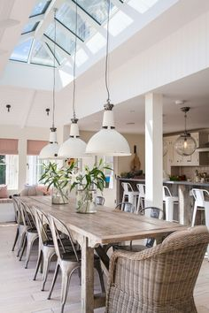 Open plan kitchen diner sitting room and love the lights