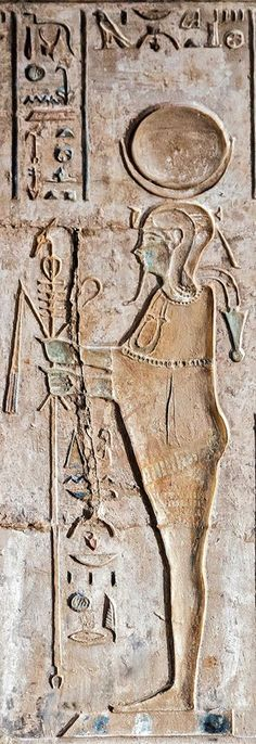"""""""Temple of Hathor and Maat at west 'Uaset'-Thebes, detail from the central chapel: the God Khonsu-Horus, wearing the Lunar disk with the Crescent, with the sidelock of youth and the 'menat'-necklace, mummiform, holding the Flail, the 'Heqa'-scepter, and the combined 'Djed'-'Ankh'-'Uas'-scepter"""" ^**^ johnny hayz ii ^**^"""