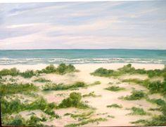 Beach Path Oil Painting original artwork by vintagejetpatterns, $150.00