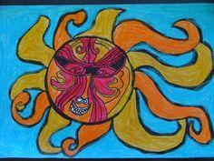 Maui and the Sun Student Crafts, Sun Illustration, Maori Designs, New Zealand Art, Teaching Art, Teaching Ideas, Maori Art, Sun Art, Ocean Art