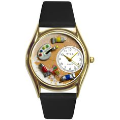 "This is the smaller version of our Whimsical Artist Watch. It features hand-crafted miniatures of a Art Pallet and Paint Tubes. Makes a great Artist appreciation gift.  PRODUCT DESCRIPTION  Watch case diameter is 1.25"". Colorful watch face design with easy-to-read analog dial. Italian leather band in several complimentary colors. Gift box included. Limited 1-year warranty."
