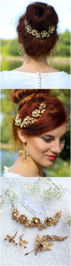 Gold flower Hair Vine Wedding Headpiece Wedding hair piece