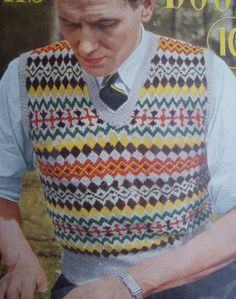 """""""1950s Fair isle sweater"""". Love the pattern and colors!"""