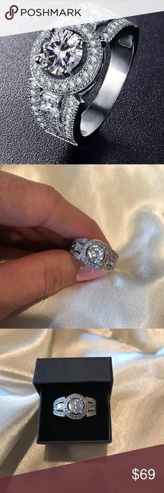 New beautiful engagement ring. CZ diamond New CZ diamond engagement ring. Perfect wedding ring. Engagement ring, anniversary ring, cocktail ring. Jewelry Rings