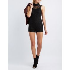 Charlotte Russe Lace Mock Neck Open Back Romper ($25) ❤ liked on Polyvore featuring jumpsuits, rompers, black, lace rompers, sleeveless romper, charlotte russe, sleeveless rompers and open back romper