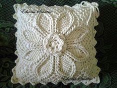Handmade Crochet Pillow Cover /ecru cotton yarn with natural wood buttons,Christmas gift Knitted Cushion Covers, Crochet Pillow Cases, Crochet Pillow Pattern, Knitted Cushions, Pillowcase Pattern, Crochet Square Patterns, Crochet Art, Crochet Squares, Crochet Home
