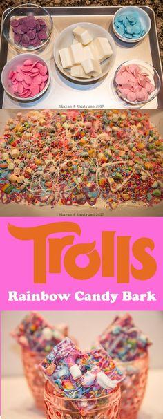 TROLLS Rainbow Candy Bark | Candy Bark | #Trolls Trolls pastel rainbow birthday party ideas