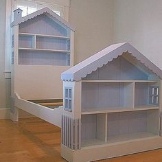 itmom: Stuff We Love: Cottage Dollhouse Bed. Well since Mikey is not a girl, we won't do the doll house bed (but I love it), but can I do something similar w/ a garage and all his cars? or legos? Can I do a bed like his for me? House Frame Bed, Bed Frame, Girls Dollhouse, Dollhouse Dolls, Little Girl Rooms, Kid Beds, House Beds For Kids, Bunk Beds, Kids Furniture