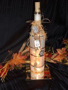 Lighted Halloween Wine Bottle.