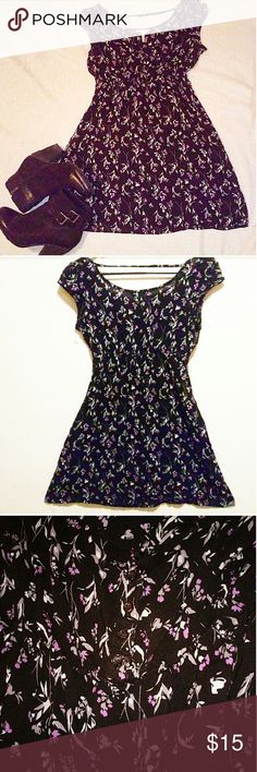 🌼Kirra floral print mini dress🌼 This dress is so pretty!!   ✳Kirra brand ✳Black backdrop w/violet purple flower design overlay ✳Capped sleeves ✳Elastic waist ✳5 button center ✳Boat neckline ✳Upper back strap ✳Vintage vibe  ✳Size Small ✳100% Rayon ✳In excellent used condition EUC ✳Perfect with boots and cardigan for the fall season!  Stock photo for styling purposes only. Similar style but not same dress. Kirra Dresses Mini