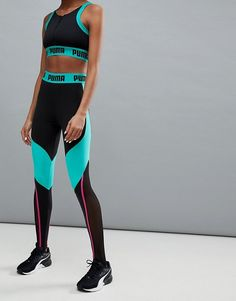 Puma Panelled Legging In Black And Green - $52.08