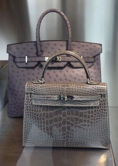Hermès - Ostrich Birkin and alligator Kelly bag in gray.