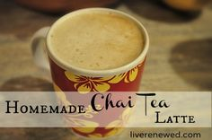 Homemade Chai Tea Latte. To make the concentrate: 4 cups of water, 4-6 chai tea bags, 2 Tbsp of honey and 1 tsp of vanilla.To make the latte: mix 1/2 cup of chai tea concentrate with 1/2 cup of milk. Supposedly tastes better with almond milk :)
