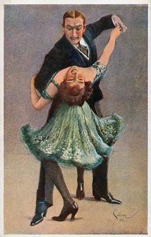 """""""Twoo-Step"""". (Tanzpaar beim Twostep). Bildpostkarte. Farbdruck nach Aquarell, 1912, von R.Schlosser. Prag (Verlag """"Minerva"""")."""