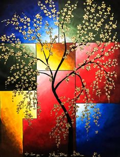 Cherry blossom painting Floral Wall art Tree Painting - Beautiful and Different Thoughts and Ideas Abstract Landscape, Landscape Paintings, Abstract Art, Abstract Tree Painting, Abstract Portrait, Indian Art Paintings, Contemporary Paintings, Contemporary Decor, Contemporary Building