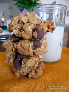 Peanut Butter Oatmeal Chocolate Chip Cookies ~ Sumptuous Spoonfuls #healthy #cookie #recipe