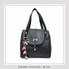 Tas Wanita Murah dan Bagus Dolphin Chain Bag - Black