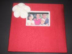 Scrapbook Album Red  Ivory poppy flower choose your colors #scrapbook by ArtisanFeltStudio on Etsy, $33.00