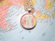 Letter Neckace, Monogram Map Necklace, Custom Map Necklace,Hostess Gift,Map Jewelry,Vintage Map, Bridesmaids Necklaces,Pastel Necklace, Mint