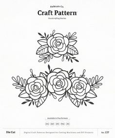 Flowers svg craft pattern roses flower svg flower svg floral clipart silhouette cut files cricut cut files diy scarf kimono tutorial from free series this is a really truebluemeandyou diys for creative people Craft Patterns, Flower Patterns, Flower Designs, Flower Pattern Design, Clipart, Paper Party Decorations, Cricut, Flower Svg, Design Crafts