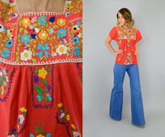 70's Mango Embroidered Oaxacan Blouse | DISCO LEAF VINTAGE