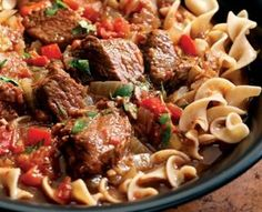 7g CARBS - Hungarian Beef Goulash.  This streamlined goulash skips the step of browning the beef, and instead coats it in a spice crust to give it a rich mahogany hue. This saucy dish is a natural served over whole-wheat egg noodles.
