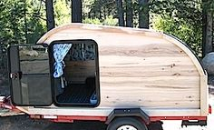 A true woody! Hand built with rustic hickory walls, alder structural framing and trim, plywood floor and ceiling. All coated with multiple layers of marine spar varnish. Hickory Wood, Truck Camper, Image Search, This Is Us, Road Trip, Teardrop Campers, Woodworking, Camping, Vintage Campers