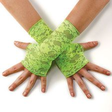 Add a pop of color with these fashionable neon stretch lace fingerless gloves by Balera