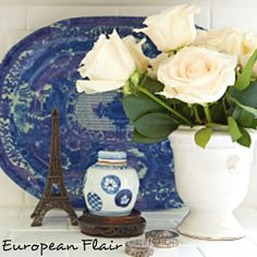 I love Marion's European style.  Some of these images were featured in Romantic Homes Magazine.   | Decor Ideas | Home Design Ideas | DIY | Interior Design | home decor | Coastal living | blue and white ginger jars | eiffel tower | french style