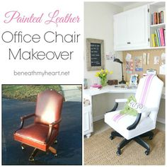 Did you know you can paint leather? This leather chair transformation using Pantone color of the year Radiant Orchid is amazing!