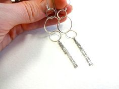 Handmade Mixed Metal Sterling Silver Fringe Three Circle Dangle Drop Earrings on Etsy, $48.00