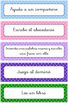 maestros | Tarjetas qué hago ahora Organization And Management, Classroom Organization, Classroom Management, Spanish Teaching Resources, Learning Spanish, Classroom Walls, School Classroom, Library Book Displays, Fast Finishers