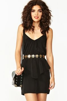 Twisted Peplum Dress - Black