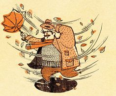 A Gust of Autumn - Hang onto your umbrella! - illustration by Steven Topley