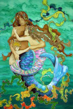 Mermaid Family Caribbean Artwork: Coastal Home Decor, Nautical Decor, Tropical Island Decor & Beach Furnishings