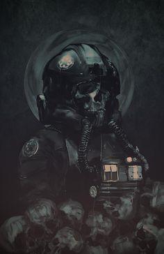 TIE pilot surrounded by skulls. Art by Rola Rafal. : StarWars