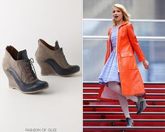 Anthropologie City Spectator Wedges - $79.95 Worn with: Vintage coat, Anthropologie dress Also worn in: 2x16 Original Song, 2x18 Born This Way 3x00 Season 3 Promotion, 3x04 Pot Of Gold, 3x06 Mash Off, 3x07 I Kissed A Girl, 3x08 Hold on to Sixteen, 3x11 Michael, 3x22 Goodbye 4x08 Thanksgiving