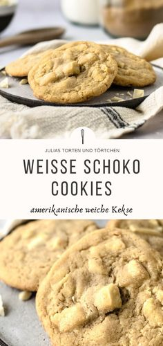 Weiße Schokoladen Cookies – Weiche Amerikanische Kekse Recipe for white chocolate cookies, soft American white chocolate chip cookies like from Subway bake quickly and easily yourself. Super juicy with creamy chocolate pieces! Cake Recipes Without Oven, Cake Recipes From Scratch, Easy Cake Recipes, Cookie Recipes, Dessert Recipes, Desserts, White Chocolate Recipes, White Chocolate Chip Cookies, Chocolate Cake