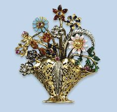 AN ENAMEL AND GEM SET BROOCH, BY BUCHERER   Designed as a flower basket with polychrome enamelled flowers, set with circular-cut rubies, sapphires and diamonds, circa 1970  Stamped CB
